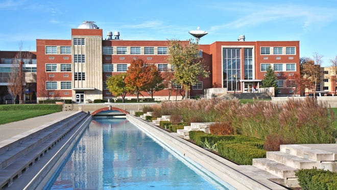 Lilly Science Hall and reflecting pool on the campus of the University of Indianapolis