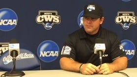 Mike Morris takes questions during a interview session at the 2015 College World Series.