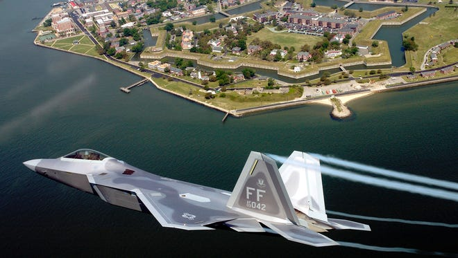 Lt. Col. James Hecker flies over Fort Monroe before delivering the first operational F/A-22 Raptor to its permanent home at Langley Air Force Base, Va. The Raptor will appear at the Great Tennessee Air Show in June 2016.
