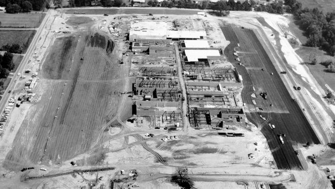 Southland Mall was rising out of the Whitehaven landscape in the fall of 1965 as seen in this photograph on Oct. 25. Shelby Drive runs top to bottom at far left and U.S. 51 moves left to right at extreme bottom of photograph.