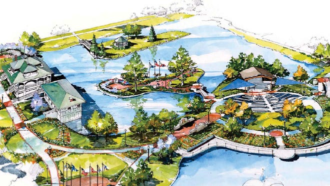 A rendering show a concept for renovations to Memorial Island in Lafayette's Columbian Park.