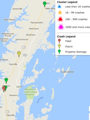An interactive map on the DMV HIghway Safety Office website shows the location of alcohol-related crashes in Northampton County, Virginia in 2017 to date, in this screen shot taken Tuesday, Aug. 8, 2017.