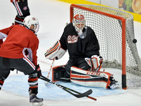 St. Cloud State University sophomore goalie David Zevnick