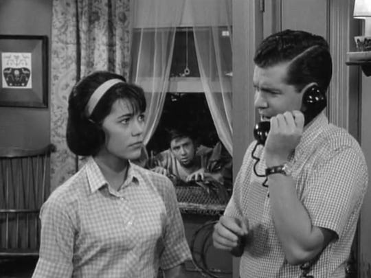 Susan Watson with Dwayne Hickman right and Bob Denver in 'The Many Loves of Dobie Gillis' episode 'Beauty Is Only Kin Deep'.
