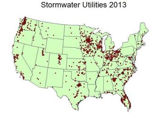 Stormwater utilities in 2013 (Source: Western Kentucky University Stormwater Utility Survey 2013)