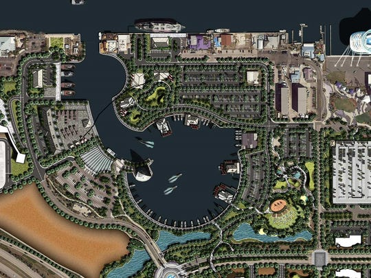 Port Canaveral's proposed master plan includes what port officials describe as creation of aninlet from an area west of the current Cove area to a man-made inner harbor. That inlet and harbor would be surrounded bynew restaurants, a conference center, a commercial fishing village and a new park.