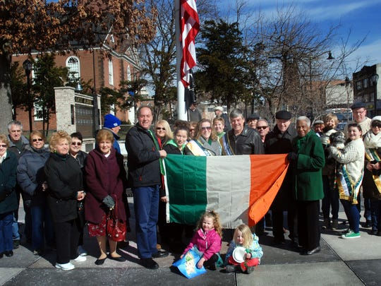 Union County Freeholder Chairman Bruce H. Bergen, Freeholder Vernell Wright and Union County Sheriff Joe Cryan joined Monsignor Hugh O'Donnell, 2016 Union County St. Patrick's Day Parade grand marshal Frank McGovern, General Chairwoman Kerry Ricci, Parade Adjutant Jessica Cunningham and members of the Elizabeth Division of the Ladies of the Ancient Order of Hibernians, the Ancient Order of Hibernians and the Union County St. Patrick's Day Parade Committee at the Irish flag-raising at the Union County Courthouse in Elizabeth in honor of St. Patrick's Day and Irish Culture and Heritage. The Union County St. Patrick's Day Parade steps off at 1 p.m. Saturday, March 12 on Morris Avenue in Union. For more information, visit www.unioncountystpatricksdayparade.com.