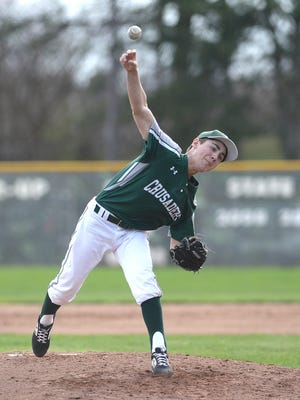 Central Catholic pitcher Andrew Halas threw a five-inning, 10-0 shutout against St. Thomas on April 12, 2019.
