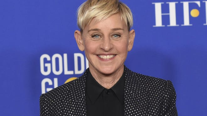 FILE - Ellen DeGeneres poses in the press room at the 77th annual Golden Globe Awards on Jan. 5, 2020, in Beverly Hills, Calif.
