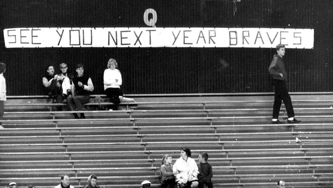 Hope springs eternal for some Milwaukee Braves fans at County Stadium in 1965.