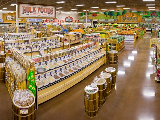 The inside of a Sprouts Farmers Market grocery store.