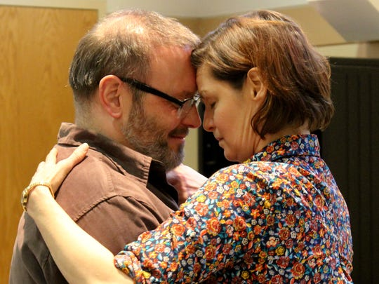 "Todd Cerveris and Mary Bacon rehearse an especially tender moment in Allyson Currin's world premiere play ""Sooner/Later,"" which runs March 29-April 21 at the Playhouse in the Park."