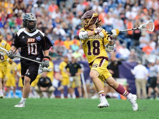 Salisbury University's Corey Gwin with a shot on goal against RIT on Sunday, May 28, 2017 during the NCAA Division III Lacrosse National Championships at Gillette Stadium in Foxoborough, MA.