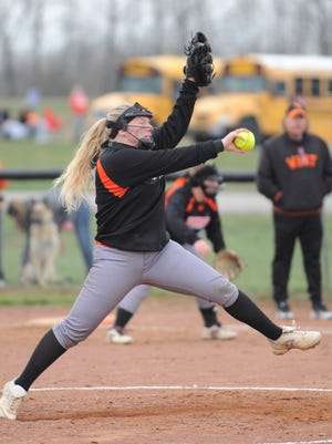 Waverly's Hannah Robinson delivers a pitch during the third inning of Monday's 12-2 win over Portsmouth West at Waverly High School.