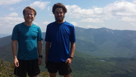 Quinn Osgood and Ryan Keeling on the Appalachian Trail. The two Livonia residents hiked the entirety of the nearly 2,200-mile trail from the end of February to the beginning of July.