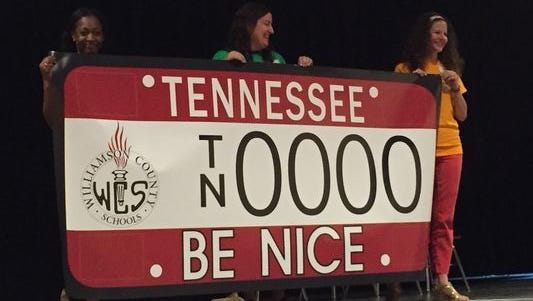 "Williamson County Schools must pre-sell 1,000 of the ""Be Nice"" license plates before production starts."