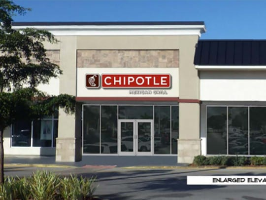 A rendering of the Chipotle Mexican Grill that will replace the Naples Plaza space vacated by Empire China.