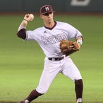 Mississippi State second baseman John Holliman fires the ball to first base against Louisiana Tech during their game Sunday.