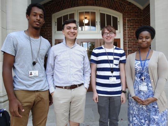 Four students at the Louisiana School for Math, Science and the Arts are semifinalists for a National Merit Scholarship. They are, from left, Garren Mitchell of New Orleans, David Canada of Slidell, Timothy Shertzer of Pineville and Lacey Hines of Gretna.