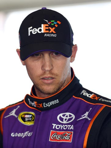 Denny Hamlin's motorcoach sustained superficial damage