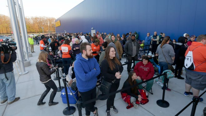 Hundreds of people wait in line before the grand opening of the first Ikea store in Wisconsin on Wednesday in Oak Creek. The grand opening festivities at the store at I-94 and Drexel Avenue will include music, entertainment and giveaways.