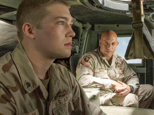 "This image released by Sony Pictures shows Joe Alwyn, left, and Vin Diesel in a scene from the film, ""Billy Lynn's Long Halftime Walk,"" in theaters on November 11."