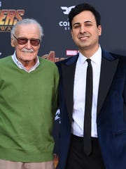 "In this April 23 file photo, Stan Lee, left, and Keya Morgan arrive at the world premiere of ""Avengers: Infinity War"" in Los Angeles. Lee has taken out a restraining order against Morgan."