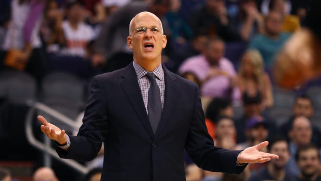 Nov 24, 2017: Phoenix Suns interim head coach Jay Triano reacts in the second half against the New Orleans Pelicans at Talking Stick Resort Arena.