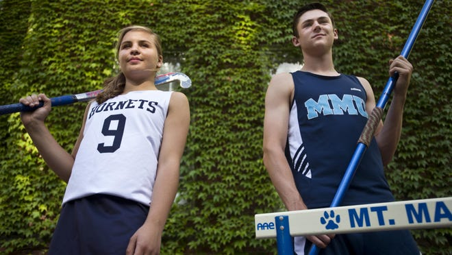 The Burlington Free Press high school athletes of the year, Essex's Kathleen Young and Mount Mansfield's Alec Eschholz.