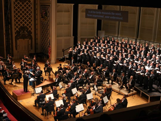 """The May Festival Chorus, Cincinnati Symphony Orchestra and soloists, with James Conlon conducting Haydn's """"The Creation"""" in Music Hall."""