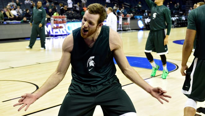 Michigan State forward Matt Costello practices at Time Warner Cable Arena.