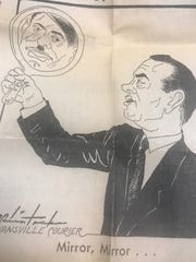 A Courier political cartoon from 1968 likening presidential