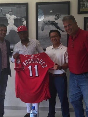 (Left to right) International scout Richard Jimenez, Alfredo Rodriguez, Director of International Scouting Tony Arias and manager of baseball operations Eric Lee.