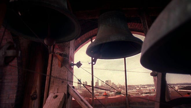 Some of the 10 historical bells hanging in the tower of Tulip Street Church in East Nashville.