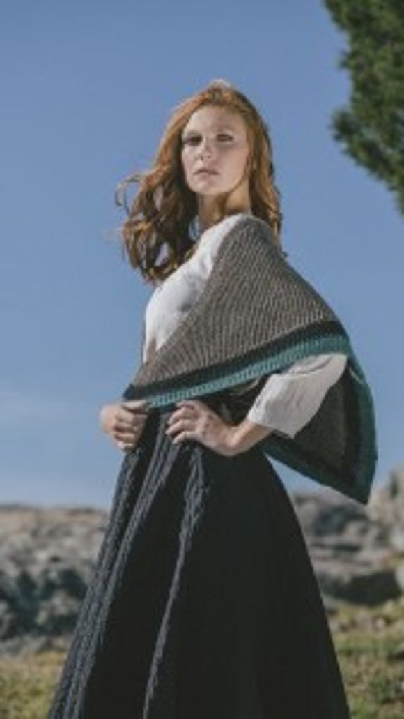 """This is the """"Highland Knits"""" version of the shawl, in Lion Brand yarn but not following Lion Brand's official pattern."""