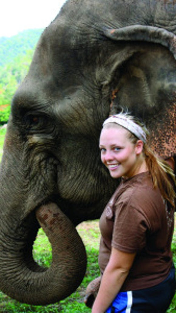 Keeley in Thailand working with elephants. (Courtesy of Meredith Keeley)