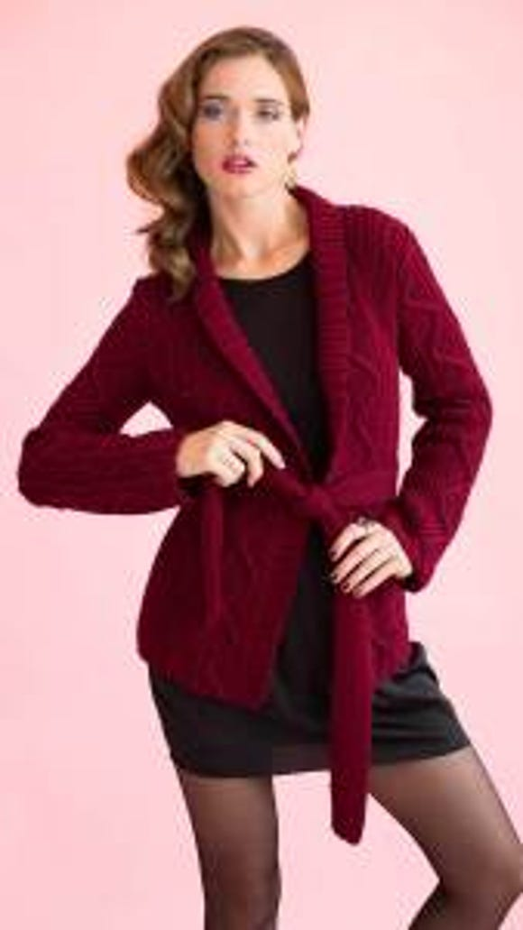 Shirley Paden designed this belted cardigan for Vogue Knitting's holiday issue. I want to make it in beige for myself.