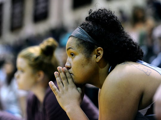 McMurry's Skyler Reyna (34) watches from the bench during a game in her freshman season. Reyna has become the War Hawks second all-time leading rebounder and can move into third all-time in scoring with two points in her final game Saturday against Texas-Dallas.