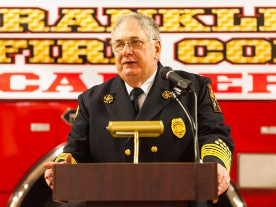 Franklinville Fire Department Chief Dana Cefari speaks
