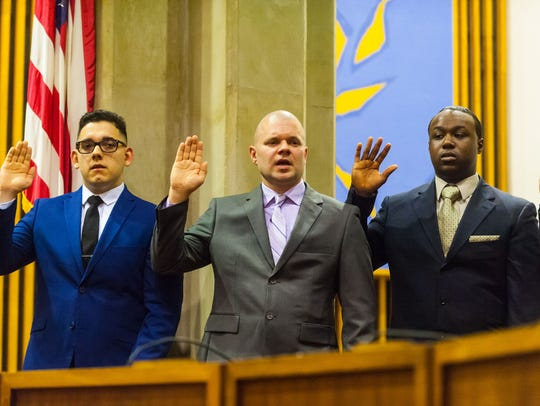 New Vineland Police recruits take the oath as they