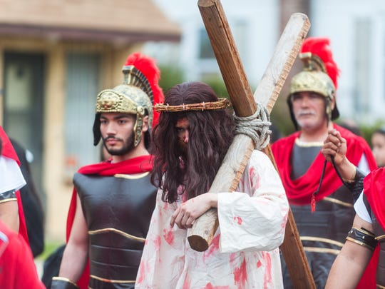 Jesus, played by Darvin Diaz, walks the Good Friday