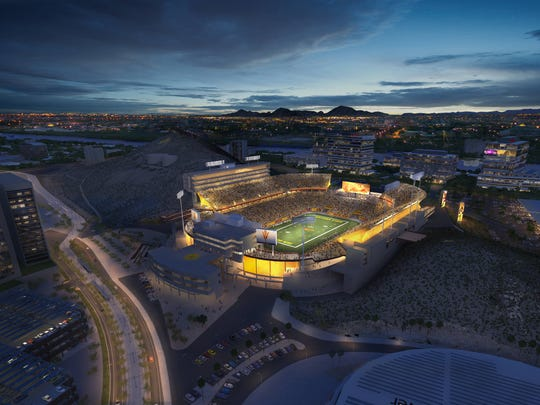 High-resolution rendering of the 2014 enhancements to Sun Devil Stadium.