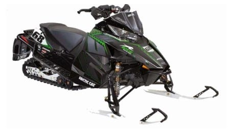 """Sometime between the afternoon of Friday, Feb. 24, and the morning of Saturday, Feb. 25, a 2013 Arctic Cat """"Tucker Hibbert"""" edition 794cc snowmobile was stolen from the end of a driveway on Plover River Road in the town of Reid. The snowmobile was black with white skis. The snowmobile pictured here is similar to the stolen snowmobile."""