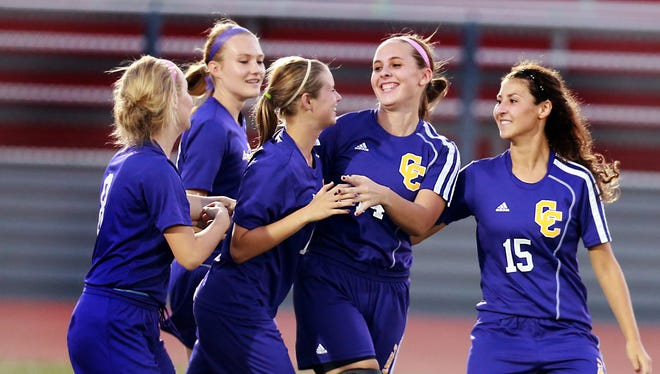 Campbell County's Brook Burgess, second from right, ranks 12th in the state in assists, among teams reporting statistics to the KHSAA, as a stopper. She has three goals in seven games, pushing her season totals to four goals and seven assists.