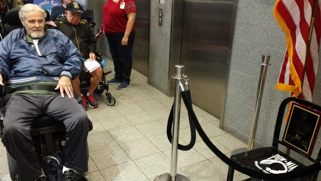 """Robert Helm, a Korean War veteran from Franklin, said the dedication of a Chair of Honor to remember POW/MIAs in the lobby of the Somerset County Administration Building was """"very stirring."""""""