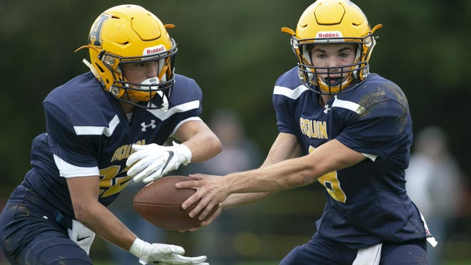 Aquin running back Ty Stykel, left, and quarterback Will Gustafson both rushed for over 1,000 yards as juniors and will return this fall for the Bulldogs' final season in 11-man football before switching to eight-man in 2021.