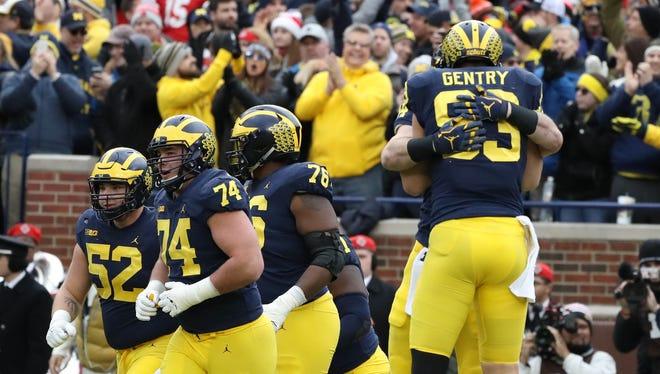 Michigan's Zach Gentry celebrates his second-quarter touchdown against Ohio State on Saturday.