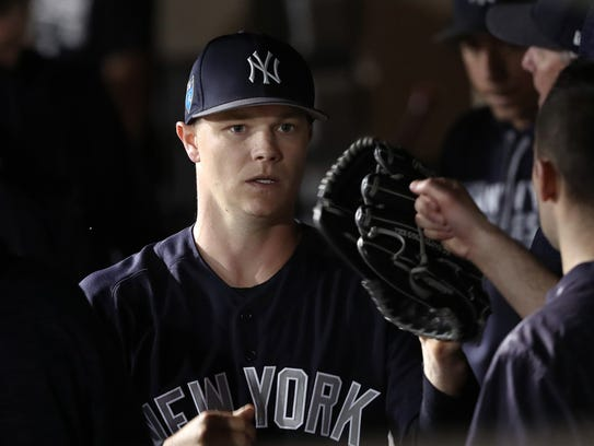 New York Yankees starting pitcher Sonny Gray (55) is