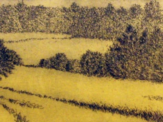 """This etching, """"South Pasture,"""" depicts the view from artist Anne Finucane's Chambersburg home. The Drawing Room, Gettysburg, will give away the work to a lucky winner on Oct. 31."""