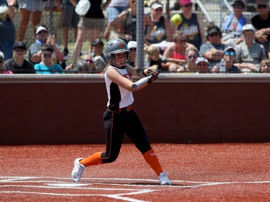 Petrolia's Kelsie Whalen hits a fly ball in Game 2